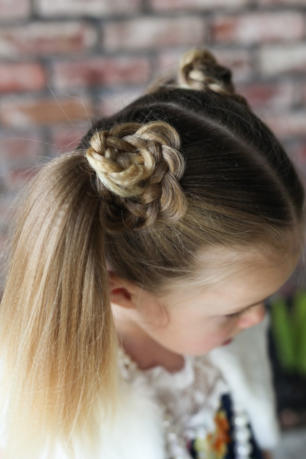 I Textured Her Hair With The Sam Villa Textur Iron, Then Did Pigtails I  Took A Chunk Of Hair From The Top Of The Pigtail, Braided It, Pancaked It  And Made